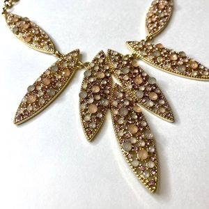 INC Statement Necklace Gold w/ Blush Tone Crystals